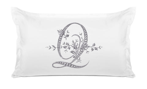 Vintage French Monogram Letter Q Pillowcase