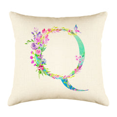 Floral Watercolor Monogram Letter Q Throw Pillow Cover