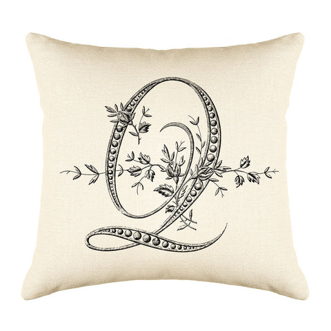 Vintage French Monogram Letter Q Throw Pillow Cover