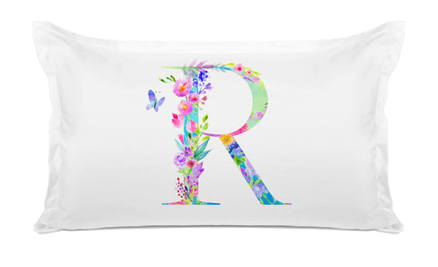 Floral Watercolor Monogram Letter R Pillowcase
