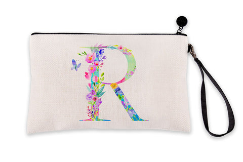 Floral Watercolor Monogram Letter R Makeup Bag