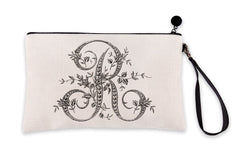 Vintage French Monogram Letter R Makeup Bag