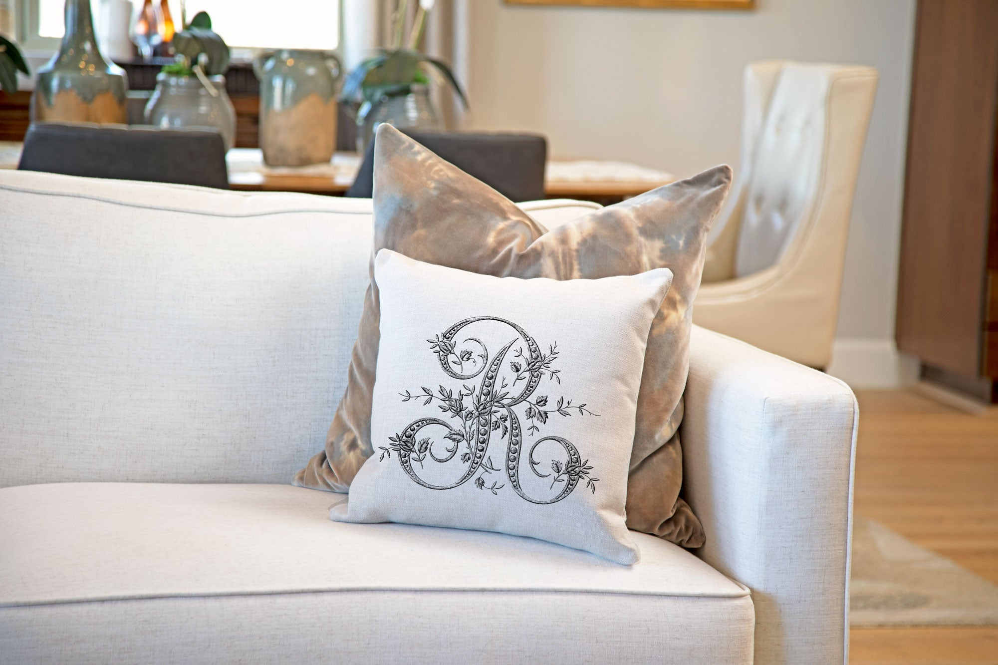 Vintage French Monogram Letter R Throw Pillow Cover