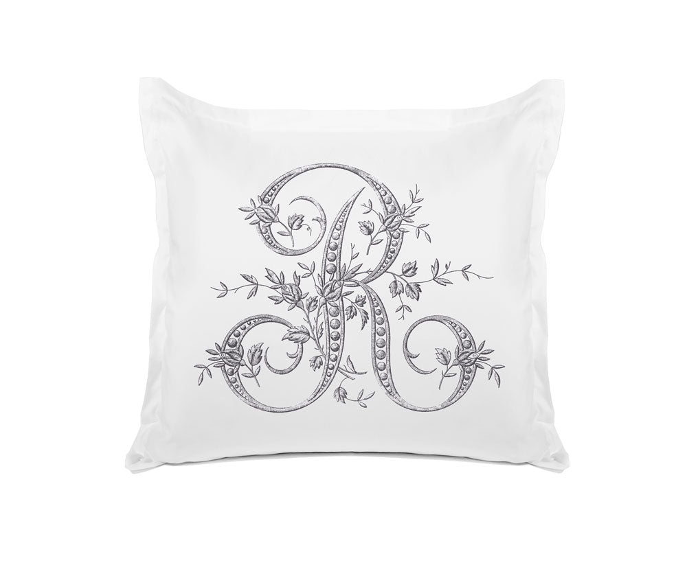 Vintage French Monogram Letter R Pillowcase