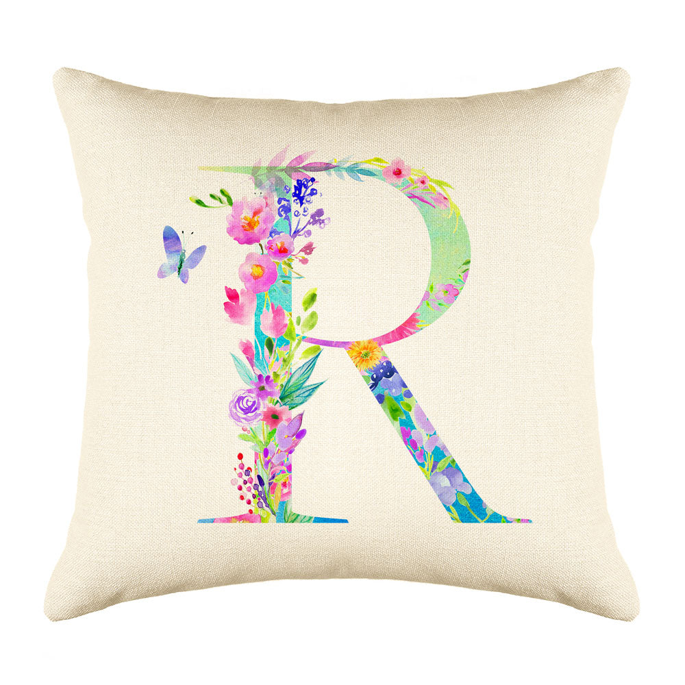 Floral Watercolor Monogram Letter R Throw Pillow Cover