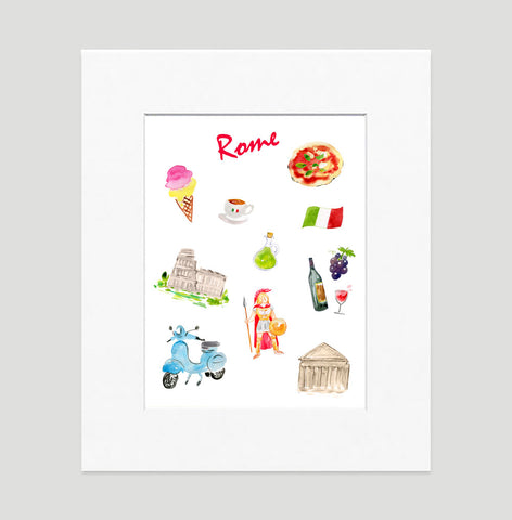 Rome Art Print - Travel Print Wall Art Collection-Matted-Di Lewis