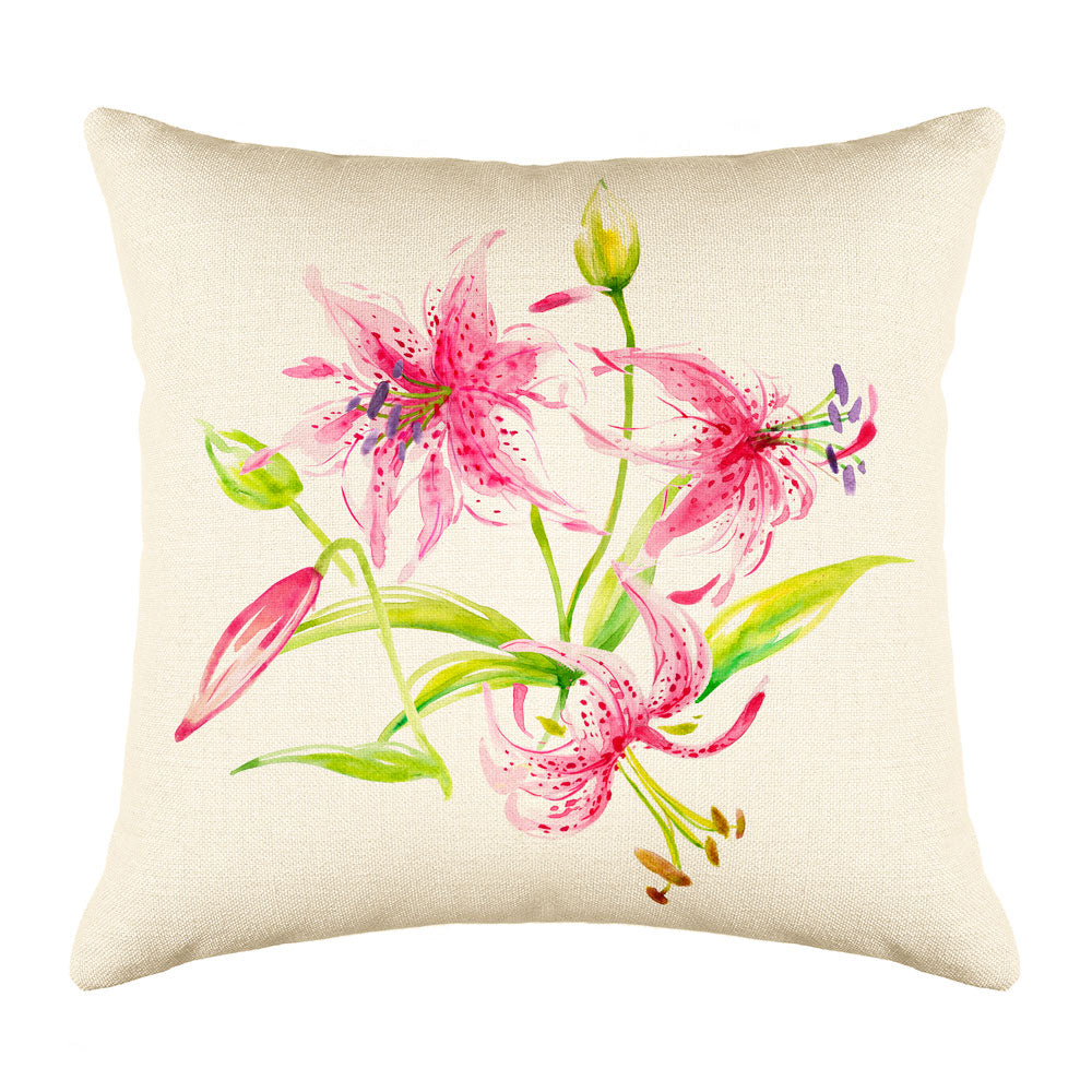 Rubrum Lily Throw Pillow Cover - Decorative Designs Throw Pillow Cover Collection
