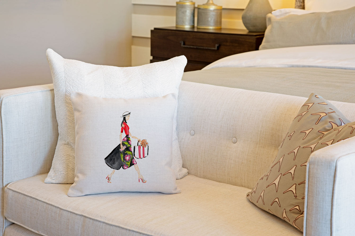 Runway Throw Pillow Cover - Fashion Illustrations Throw Pillow Cover Collection-Di Lewis