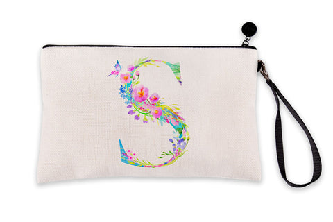 Floral Watercolor Monogram Letter S Makeup Bag
