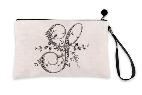 Vintage French Monogram Letter S Makeup Bag