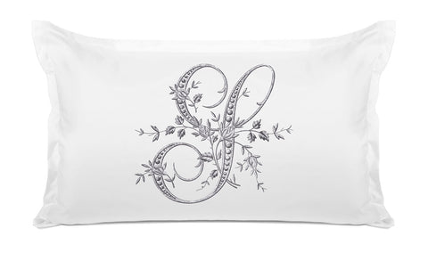 Vintage French Monogram Letter S Pillowcase