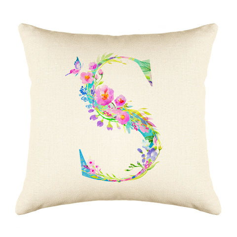 Floral Watercolor Monogram Letter S Throw Pillow Cover