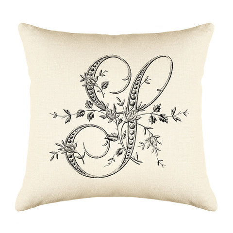 Vintage French Monogram Letter S Throw Pillow Cover