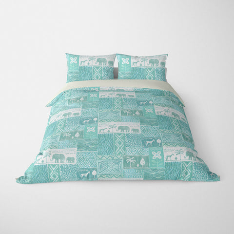 DECORATIVE DUVET COVERS & BEDDING SETS SAFARI AQUA - ANIMAL DESIGN - HYPOALLERGENIC