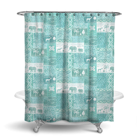 SAFARI- DECORATIVE SHOWER CURTAIN - AQUA - JUNGLE ANIMALS