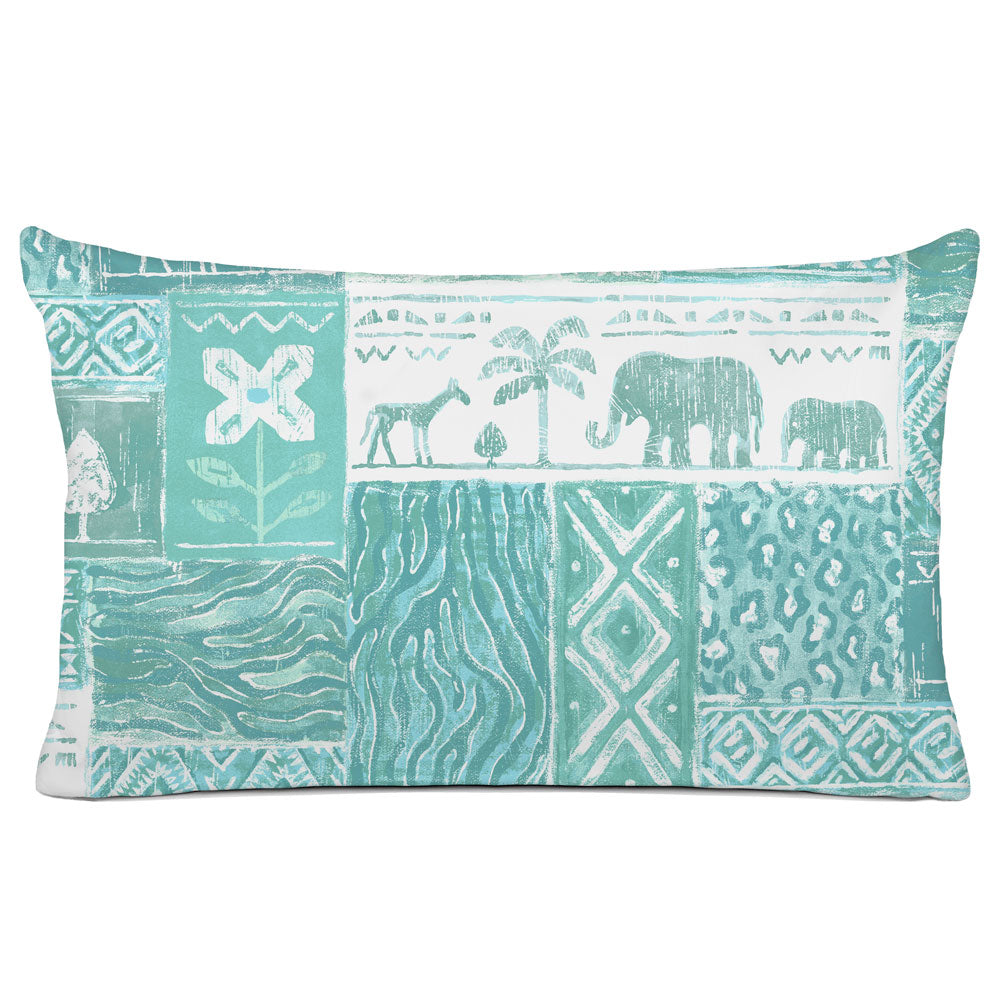 DECORATIVE PILLOW SHAM - BEDDING - SAFARI AQUA - ANIMAL DESIGN