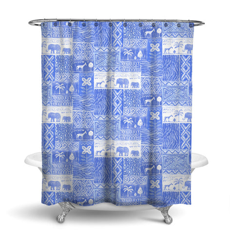 SAFARI- DECORATIVE SHOWER CURTAIN - AZURE BLUE - JUNGLE ANIMALS