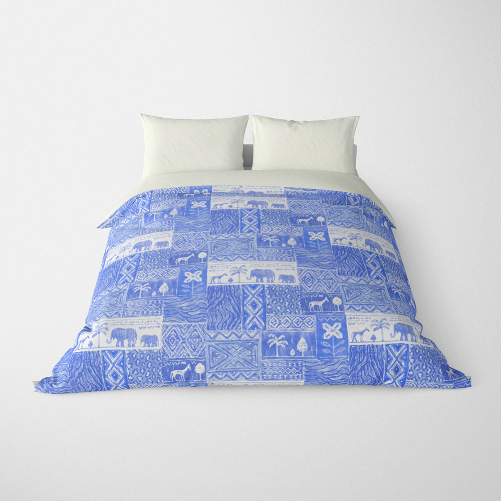 DECORATIVE DUVET COVERS & BEDDING SETS SAFARI AZURE BLUE - ANIMAL DESIGN - HYPOALLERGENIC