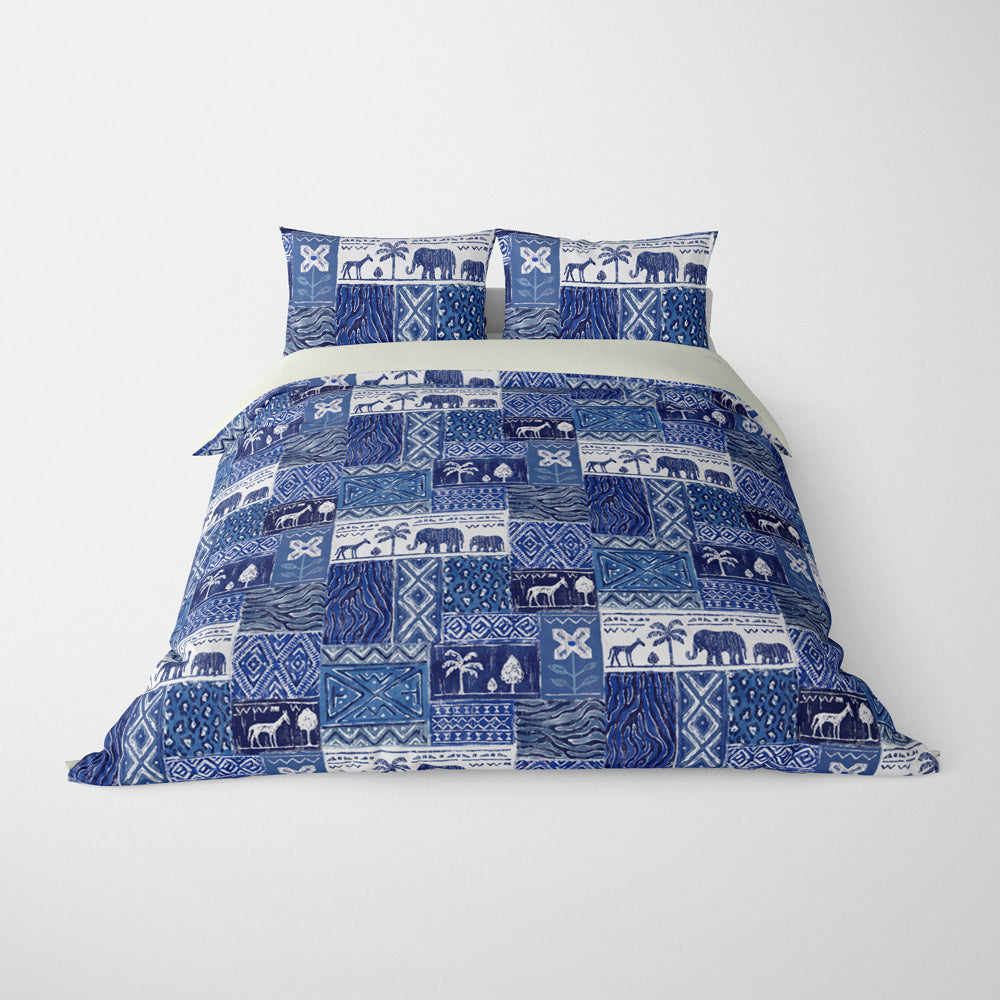 DECORATIVE DUVET COVERS & BEDDING SETS SAFARI BLUE WHITE - ANIMAL DESIGN - HYPOALLERGENIC