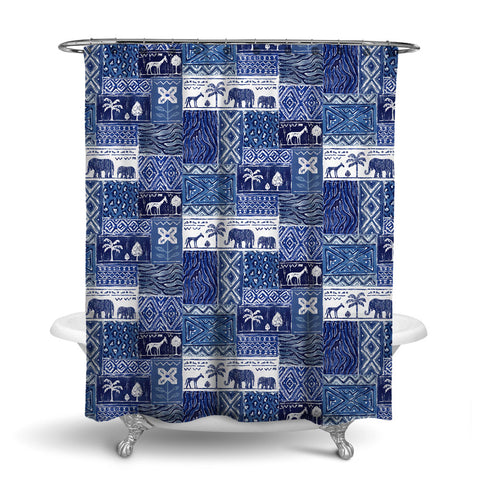 SAFARI- DECORATIVE SHOWER CURTAIN - BLUE WHITE - JUNGLE ANIMALS
