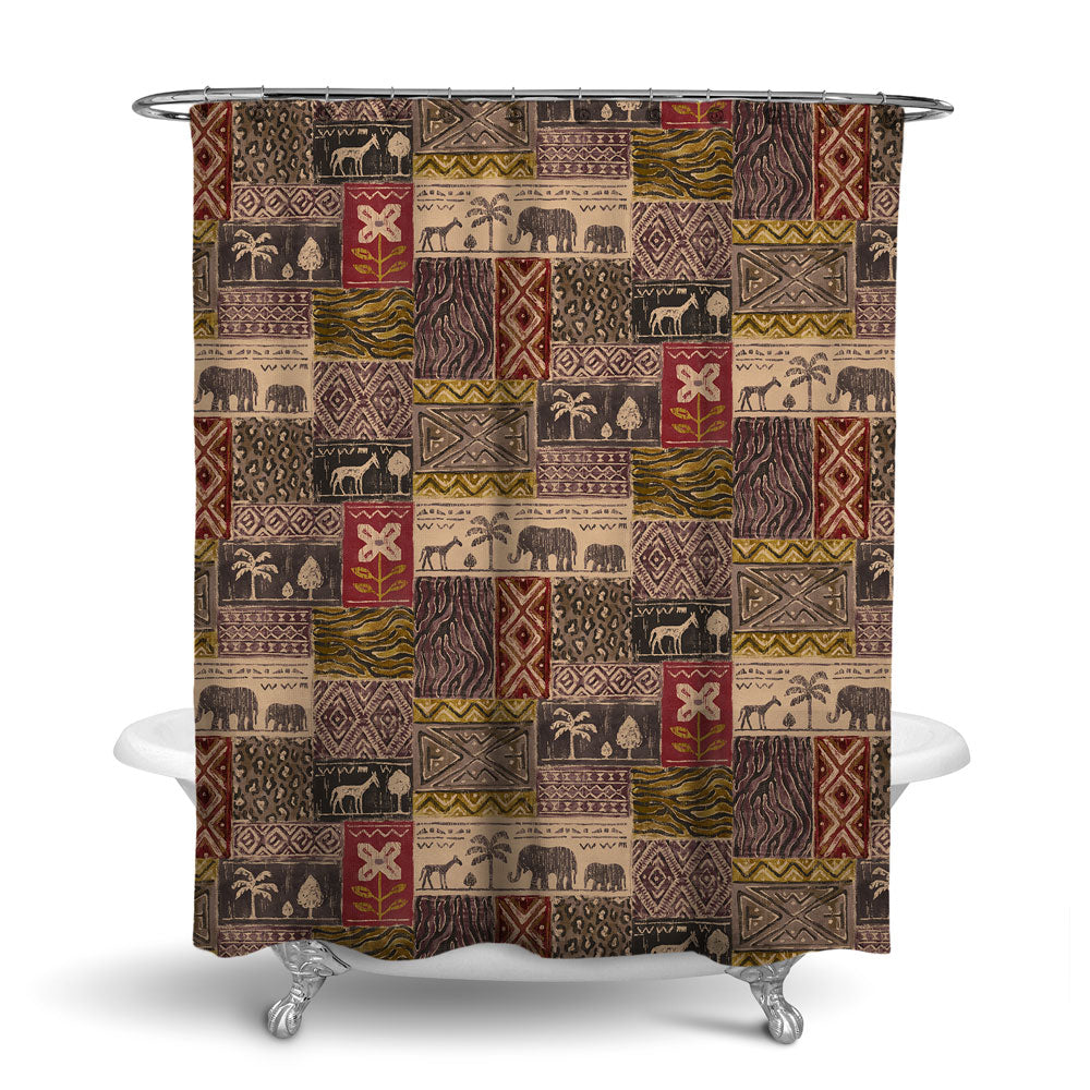 SAFARI- DECORATIVE SHOWER CURTAIN - BRICK - JUNGLE ANIMALS