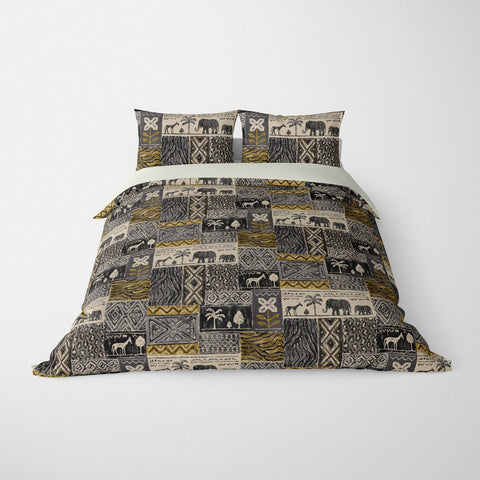 DECORATIVE DUVET COVERS & BEDDING SETS SAFARI CHARCOAL - ANIMAL DESIGN - HYPOALLERGENIC