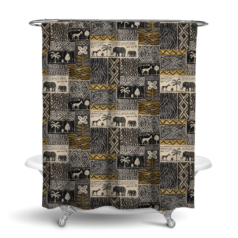 SAFARI- DECORATIVE SHOWER CURTAIN - CHARCOAL - JUNGLE ANIMALS