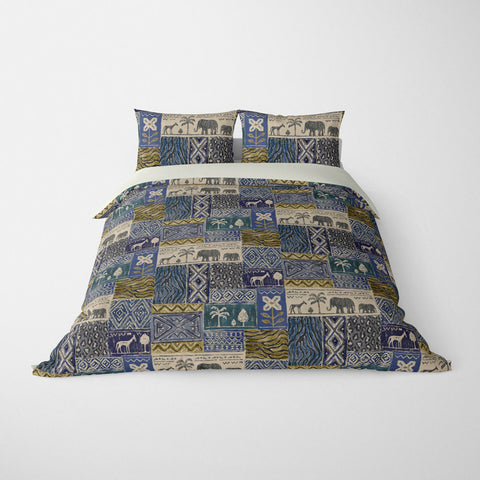 DECORATIVE DUVET COVERS & BEDDING SETS SAFARI CLASSIC BLUE - ANIMAL DESIGN - HYPOALLERGENIC