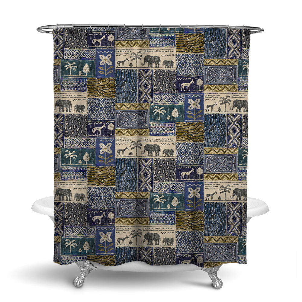 SAFARI- DECORATIVE SHOWER CURTAIN - CLASSIC BLUE - JUNGLE ANIMALS