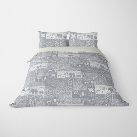 DECORATIVE DUVET COVERS & BEDDING SETS SAFARI GREY - ANIMAL DESIGN - HYPOALLERGENIC