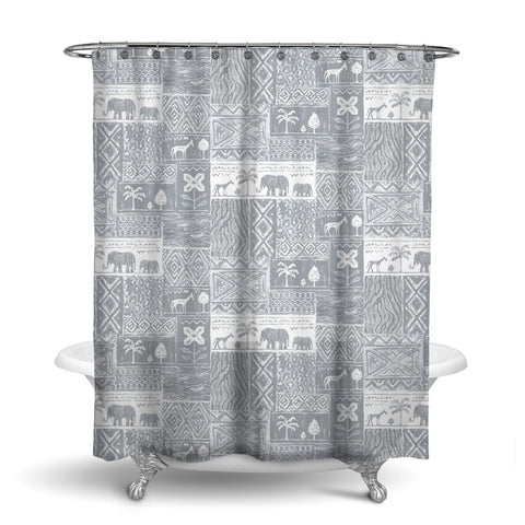 SAFARI- DECORATIVE SHOWER CURTAIN - GREY - JUNGLE ANIMALS