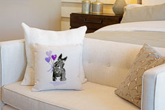 Sammie Scottie Throw Pillow Cover - Dog Illustration Throw Pillow Cover Collection