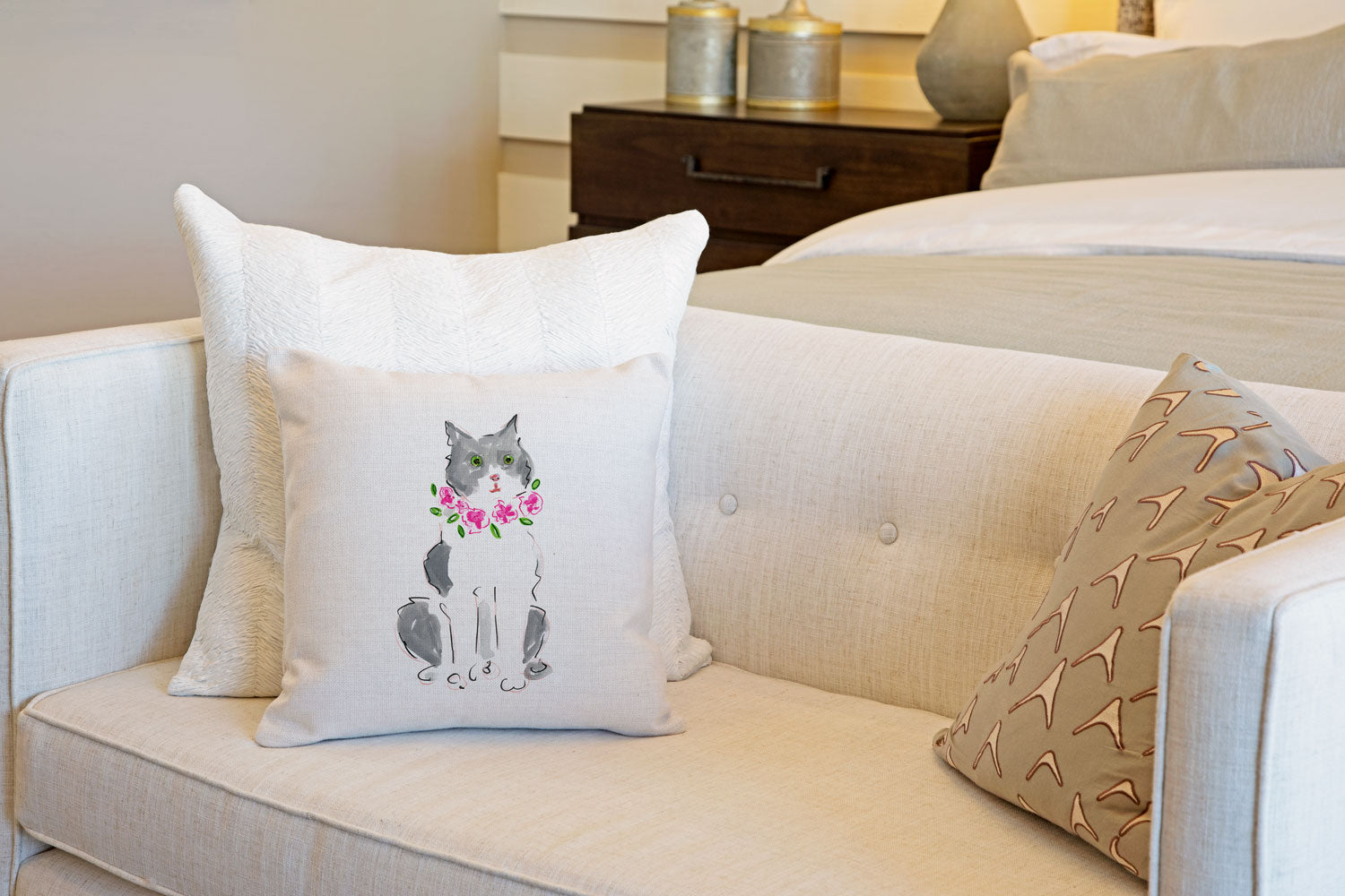 Grey and White Cat Throw Pillow Cover - Cat Illustration Throw Pillow Cover Collection-Di Lewis