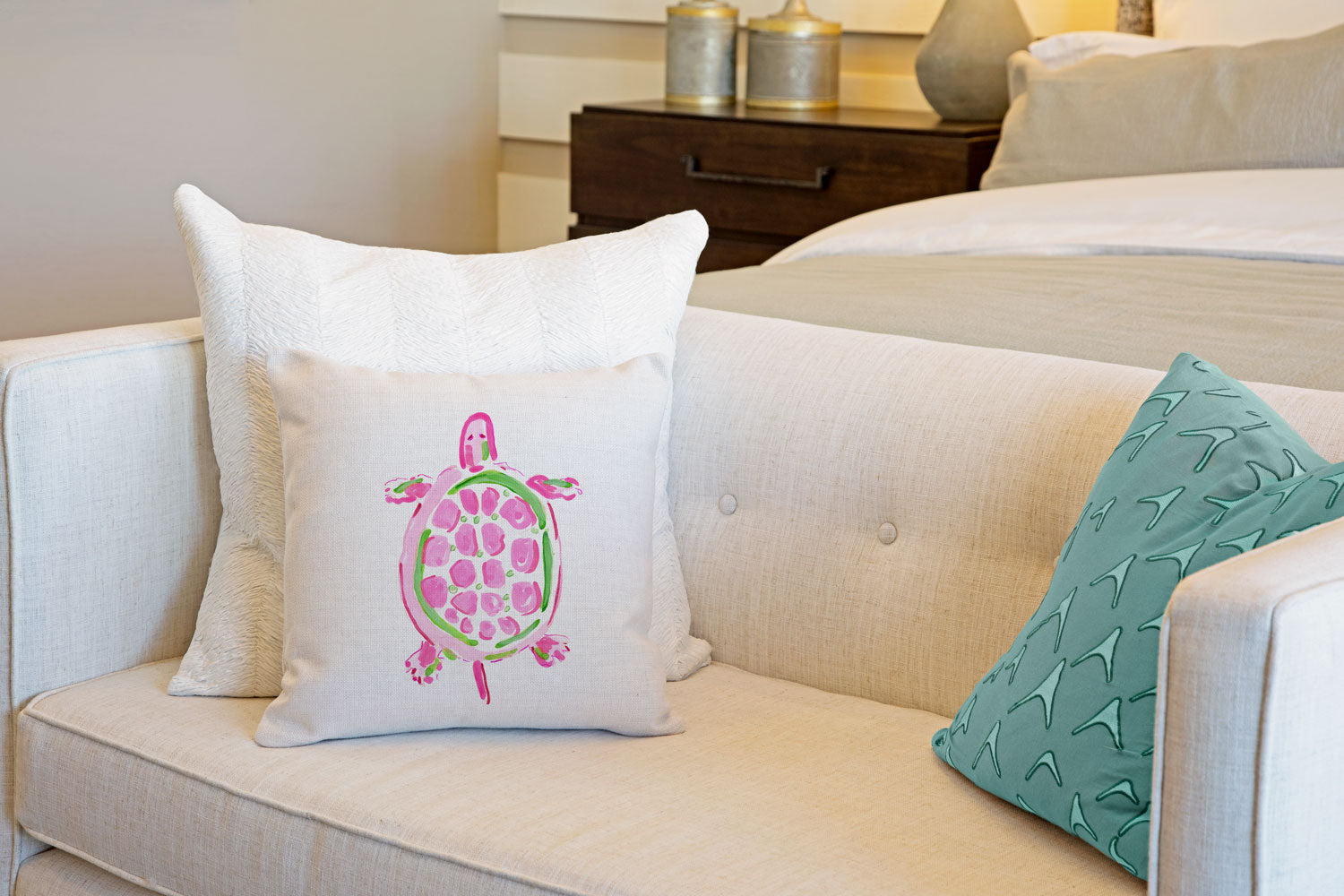 Sea Turtle Pink Throw Pillow Cover - Coastal Designs Throw Pillow Cover Collection-Di Lewis