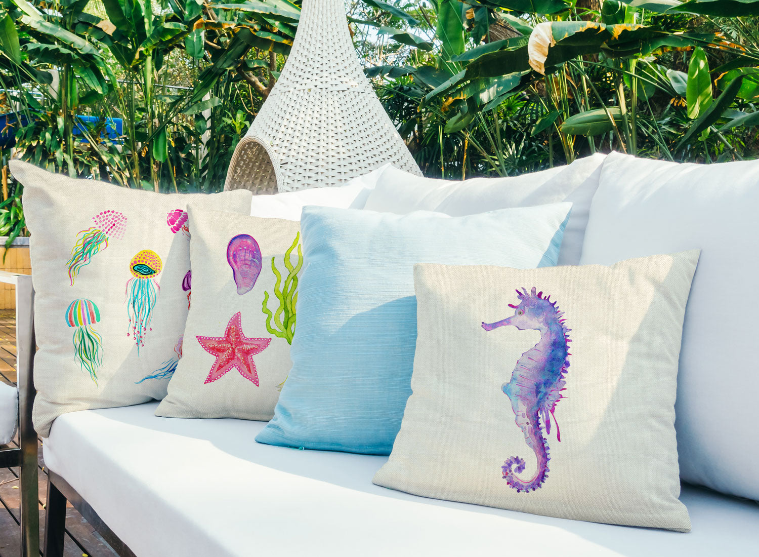 Seahorse Throw Pillow Cover - Coastal Designs Throw Pillow Cover Collection-Di Lewis