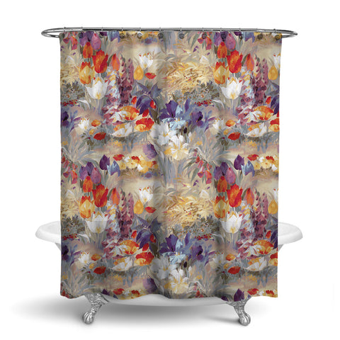 SECRET GARDEN - FLORAL SHOWER CURTAIN - FALL - FLOWER DESIGN