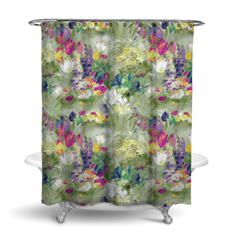 SECRET GARDEN - FLORAL SHOWER CURTAIN - JADE - FLOWER DESIGN