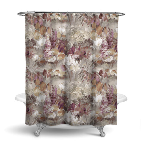 SECRET GARDEN - FLORAL SHOWER CURTAIN - NATURAL - FLOWER DESIGN