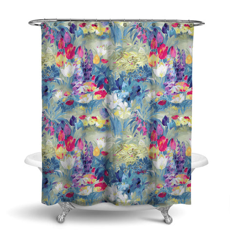 SECRET GARDEN - FLORAL SHOWER CURTAIN - SUMMER - FLOWER DESIGN