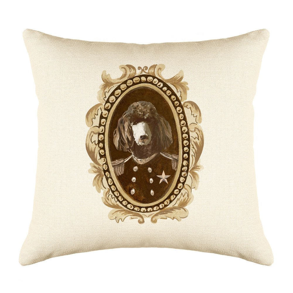 Sergeant Poodle Throw Pillow Cover - Dog Illustration Throw Pillow Cover Collection-Di Lewis