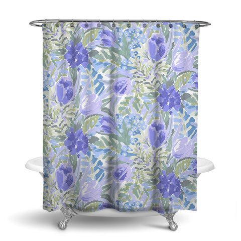 SHANGRI-LA - FLORAL SHOWER CURTAIN - BLUE - FLOWER DESIGN