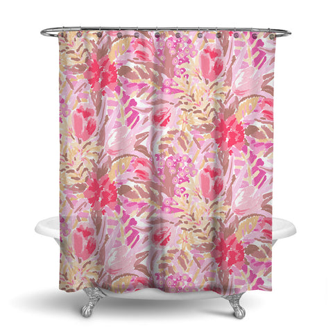 SHANGRI-LA - FLORAL SHOWER CURTAIN - BLUSH - FLOWER DESIGN