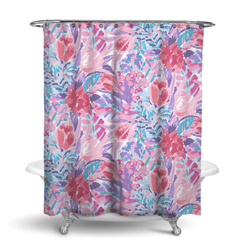 SHANGRI-LA - FLORAL SHOWER CURTAIN - CORAL - FLOWER DESIGN