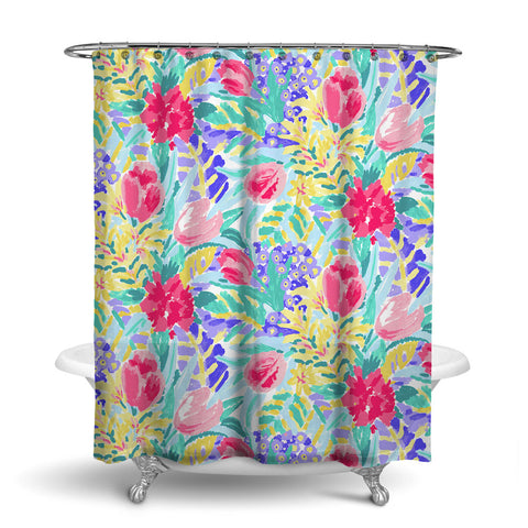 SHANGRI-LA - FLORAL SHOWER CURTAIN - MULTI COLOR - FLOWER DESIGN