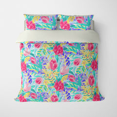 FLORAL DUVET COVERS & BEDDING SETS SHANGRI-LA MULTI COLOR - FLOWER DESIGN - HYPOALLERGENIC