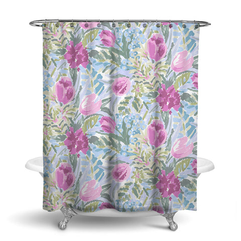 SHANGRI-LA - FLORAL SHOWER CURTAIN - ROSE - FLOWER DESIGN