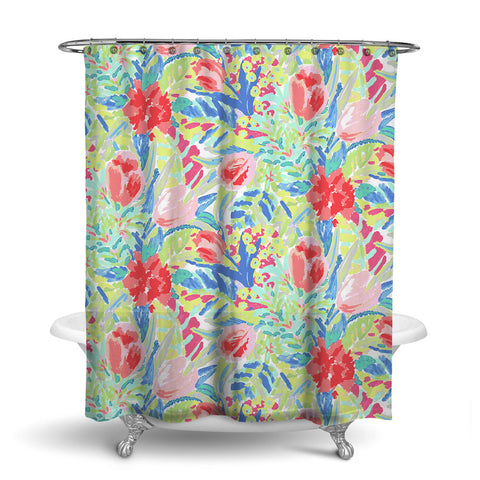 SHANGRI-LA - FLORAL SHOWER CURTAIN - TROPICAL - FLOWER DESIGN
