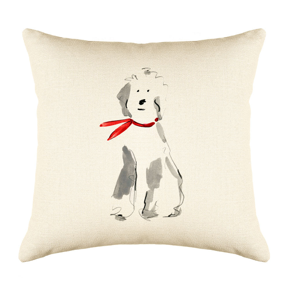 Barkley Sheepdog Throw Pillow Cover - Dog Illustration Throw Pillow Cover Collection