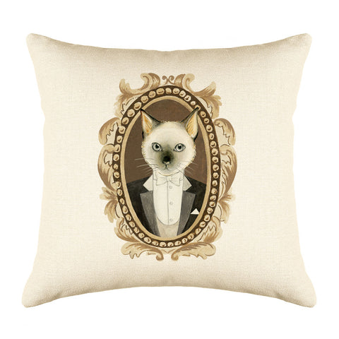 Siamese Cat Throw Pillow Cover - Cat Illustration Throw Pillow Cover Collection