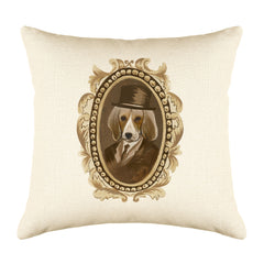 Sir Beagle Throw Pillow Cover - Dog Illustration Throw Pillow Cover Collection